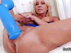 Lesbo peaches gape their deep anals and poke oversized sexual relations toys