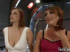 Squirting lesbian finger banged before toying