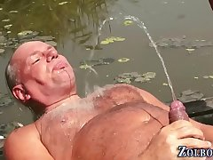 Teen pisses oldys mouth
