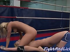 Wrestling lesbo babe fingered in tight ass