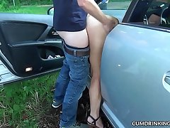 Car sex gangbangs with naughty slutwife