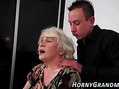 Titfucked granny mouthful