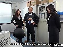 Cute Japanese crone makes her redhead coworker masturbate to orgasm
