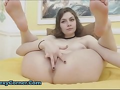 Cute Flexible Teen Enjoys Fingering Tight Shaved Pussy