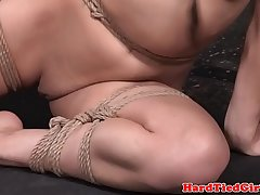 Flexible bdsm sub tied up and toyed by dom