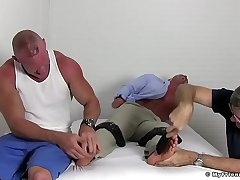 Ripped twonk Brad Barnes is frolic and ready for the tickling