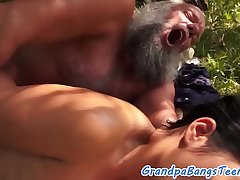 Stunning eurobabe fucked outdoors by grandpa