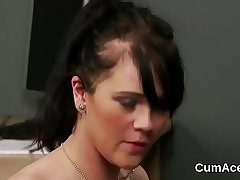 Spicy doll gets cumshot on her face sucking all the spunk
