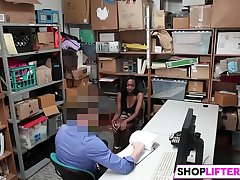 Busty Ebony Teen Discontented At Shoplifting