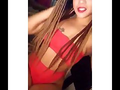 CAMSTER - Sexy ebony cam girl back red lipstick shows off her sexy body