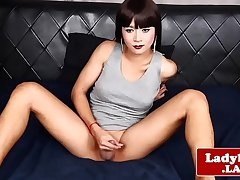 Inked oriental tranny wanks in solo action