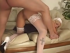 Nurse milf gives a blowjob to the young patient