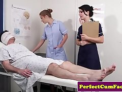 Cock loving nurses get facialized