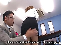 Japanese office lady got her holes toyed by two dudes