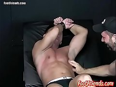 Pervy twink Franco enjoys being tied up together with tickled by Tan