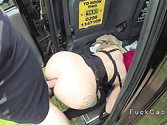 Hot redhead amateur anal fucks in fake cab