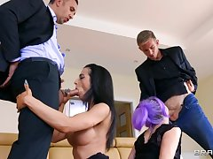 Two couples arrange swinger sexual congress in the living room