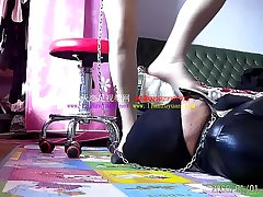 Foot slave lapping mistress'_s high heels increased by feet