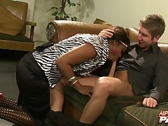 Ebony lady boss adores blowing her employees' dicks