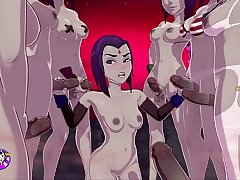 Raven gets a TERRIFIC bukkake, Fucks and Cums Close by A Group Of Futas - sexgame