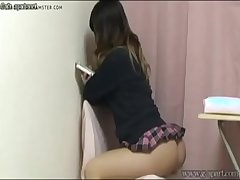 upskirt japanese schoolgirl from under the desk