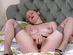 Blonde slut stilettos retro nylon toying