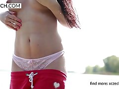 Daphne Angel public striptease increased by pussy showing - solo video - XCZECH.com