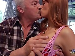 Daddy Falls In Love With Beautiful Young Redhead and Fucks Her Pussy