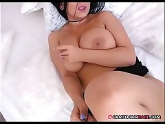 Brunette girl with big tits teasing